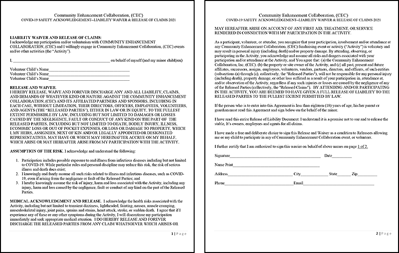 Event Waiver & Agreement form